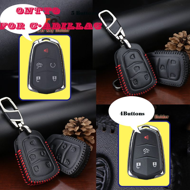 New Genuine Leather Car Remote Key Case Cover For Cadillac Escalade ATS CTS XTS SRX XT5 BLS 4&5 Buttons Key Chain Shell