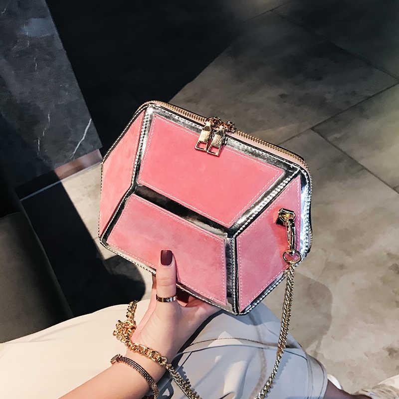 Женская сумка-мессенджер, из искусственной замши, с геометрическим узором, на цепочке