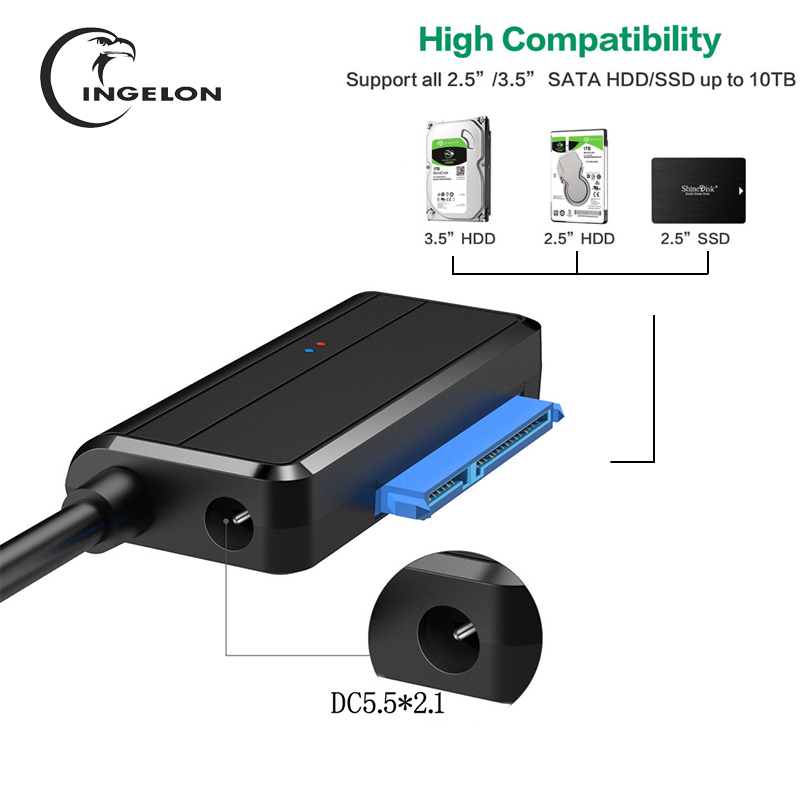 INGELON <font><b>sata</b></font> to usb hard drive cable USB 3.0 Transmission Easy drive line USB <font><b>Sata</b></font> Adapter for 2.5 <font><b>3.5</b></font> HDD <font><b>SSD</b></font> Drives image