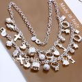 Wholesale jewelry set,Sterling Silver jewelry,necklace + bracelet jewelry set, Free Shipping, S074