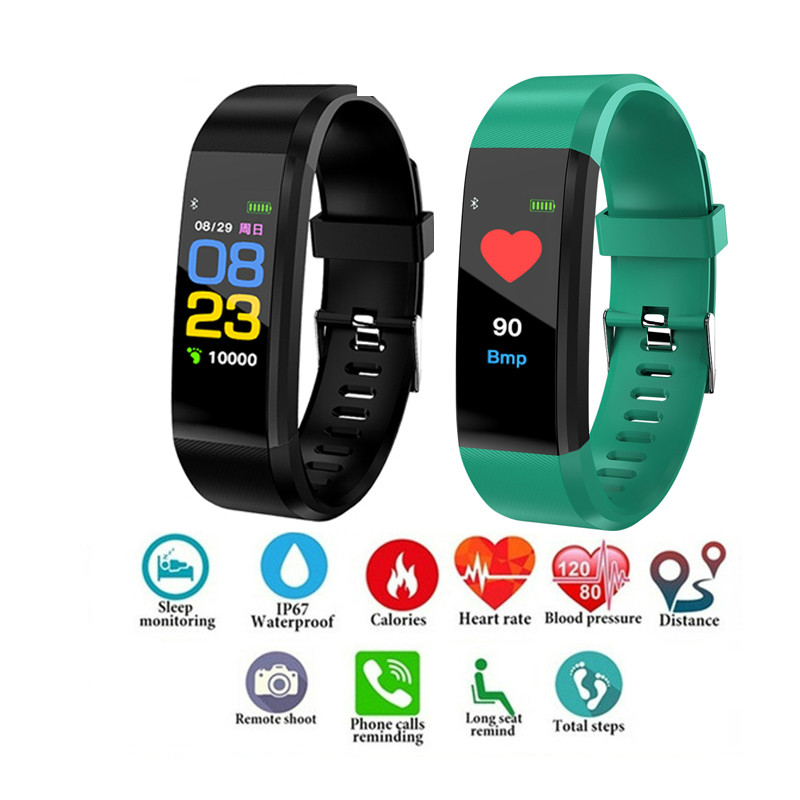 Color Screen Smart Bracelet Sports Pedometer Watch Fitness Running Walking Tracker Heart Rate Smart Band For Men Wome Watches