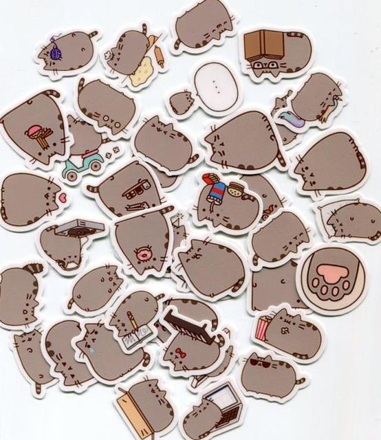 40pcs/lot Cartoon Pusheen the Cats sticker toys Pusheen waterproof and  oilproof computer glass backpack