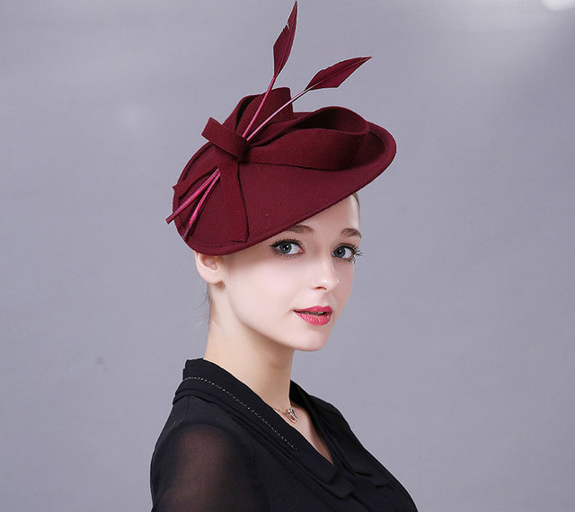 Fascinators Winter Hats For Women Elegant Black Wine Red Wool Felt Pillbox  Hat Girls Lady Formal Church Wedding Dress Fedoras a8abc19a1491