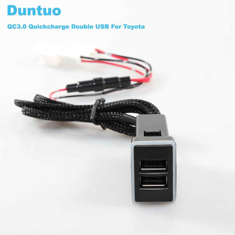 QC3.0 Quickcharge Car Charger Double USB Phone PDA DVR Adapter Plug & Play Cable For Toyota