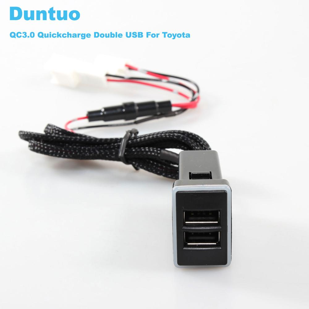 QC3 0 Quickcharge Car Charger Double USB Phone PDA DVR Adapter Plug Play Cable For Toyota in Cables Adapters Sockets from Automobiles Motorcycles