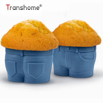 Transhome Muffin Cupcake Silicone Mold Blue Jeans Shape Silicone Cake Mold Baking Accessories Chocolate Ice Molds Baking Tools adjustable mandoline slicer professional grater
