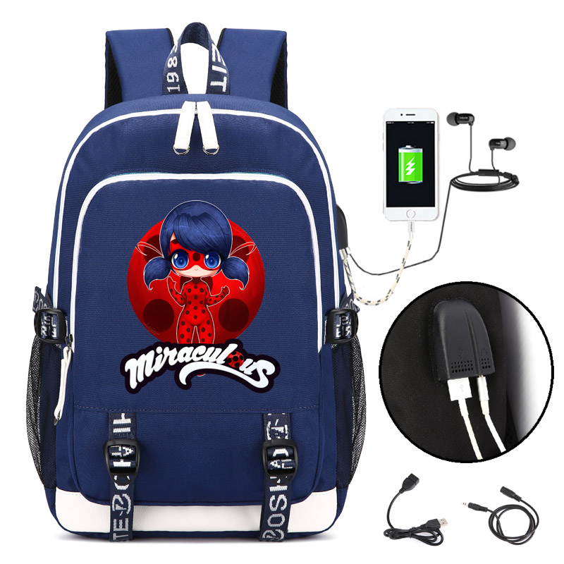 Miraculous Ladybug Backpack with USB Charging Port and Lock &Headphone interface for College Student Work Men & Women fortnite backpack with usb charging port and lock