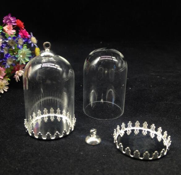 300 sätze/los 38*25mm klar diy glaskugel crown fach 8mm perlen kappe set glasflasche fläschchen anhänger mode halskette schmuck geschenk-in Anhänger aus Schmuck und Accessoires bei  Gruppe 3