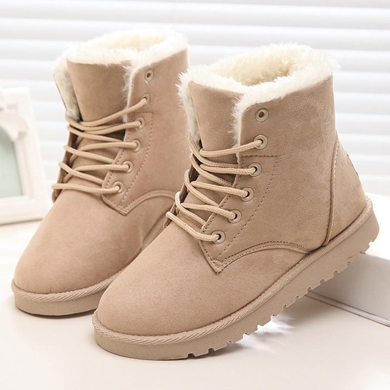 Women Boots Snow Warm Winter Boots Women Shoes Lace Up Fur