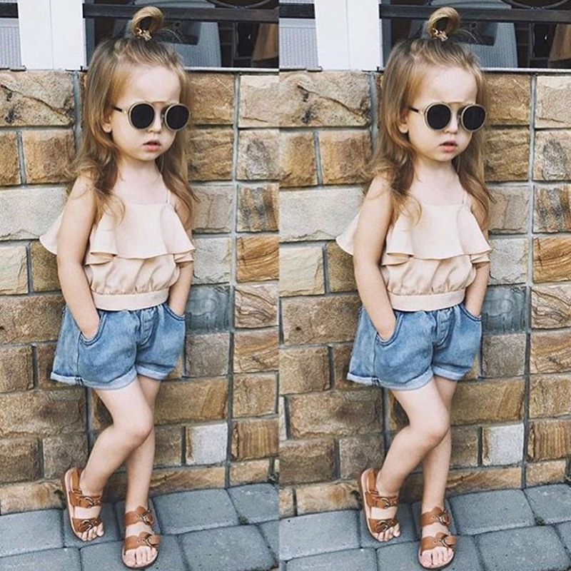 Child Women Garments Set 2019 Summer season Women Sleeveless Complexion Tops + Denim Shorts 2 Pcs Kids Vogue Clothes 1-7 Years Outdated Clothes Units, Low-cost Clothes Units, Child Women...