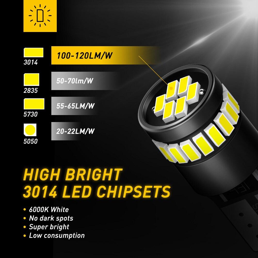 2x T10 LED W5W Canbus 194 168 Felfri LED-avstånd Parkeringsljus för - Bilbelysning - Foto 6