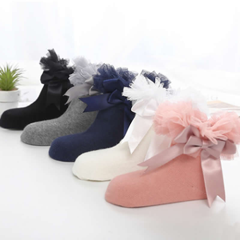 2019 New Socks Girl Lace Boneless Hand Sewing Bowknot Ribbon Sock Children Lovely Fleabane Ballet Stage Priness Girl Socks