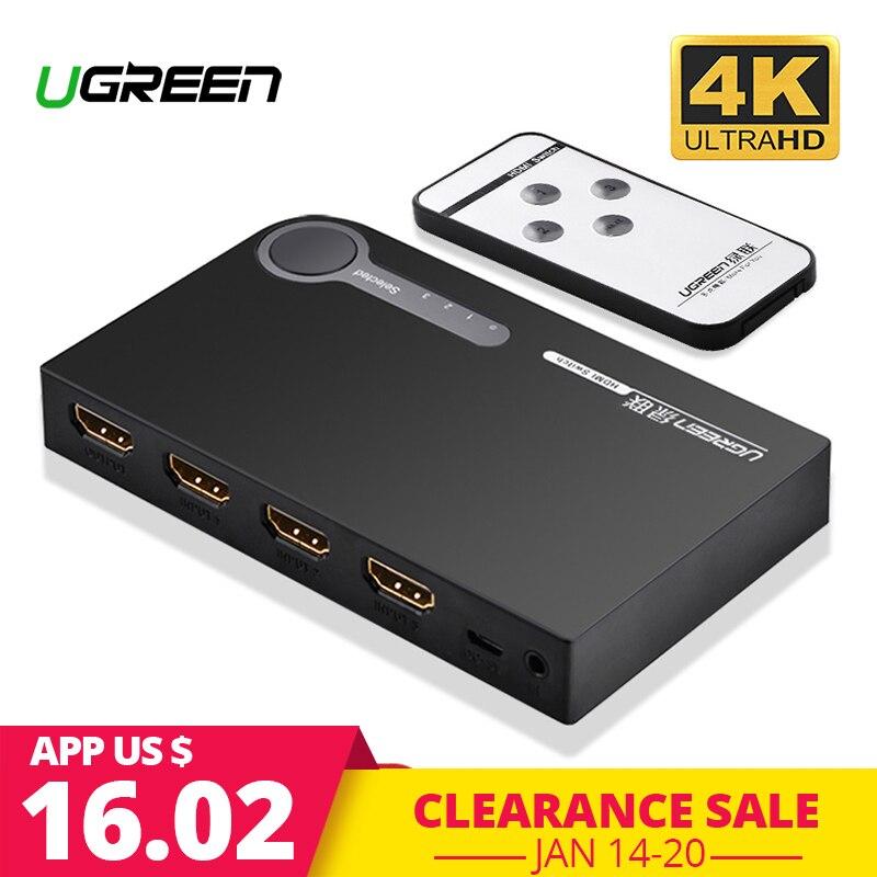 Ugreen HDMI Splitter Mudar 3 Entrada Saída 1 4 K Switcher HDMI para PC Laptop XBOX 360 PS3 PS4 Nintendo interruptor 3 Adaptador de Porta HDMI