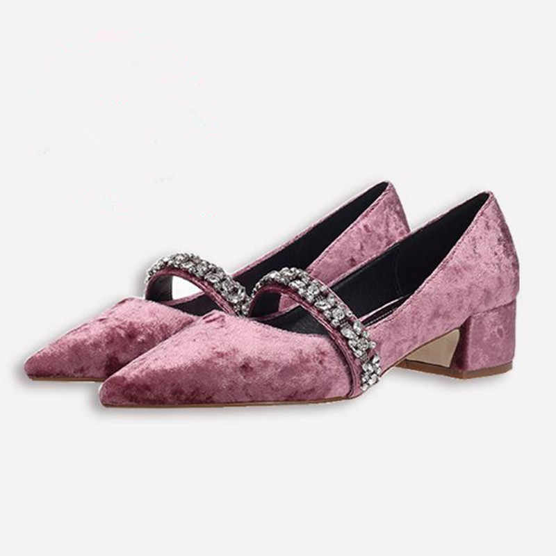 Fashion rhinestone high heels low heel pointed pink velvet bridesmaid shoes  retro Crude heel Mary Jane a0f75d609f78