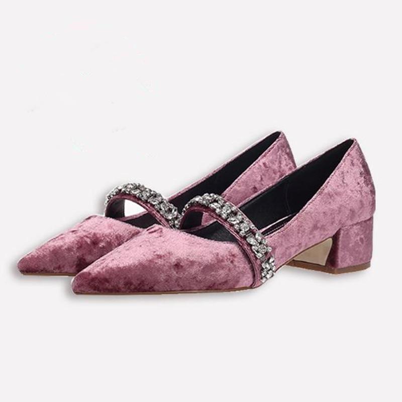 Fashion rhinestone high heels low heel pointed pink velvet bridesmaid shoes retro Crude heel Mary Jane shoes Women pumps Heels все цены