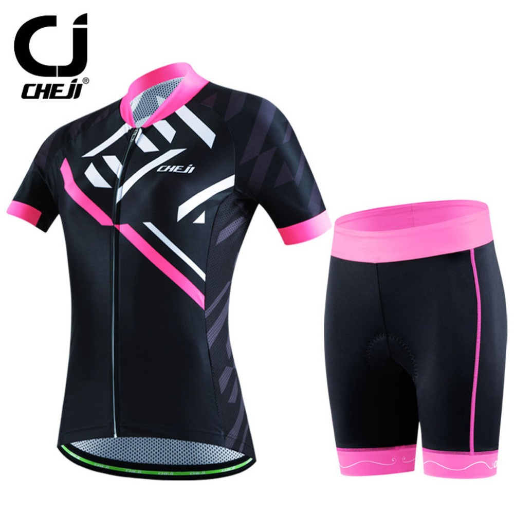 Ladies Cycling Kit CHEJI Bike Team Cycling Jersey Top & Mountain Bike Lycra GEL Padded Shorts Set Coolmax Reflective For Women triathlon fitness women sports wear shorts kit sets cycling jersey mountain bike clothing for spring jersey padded short page 9