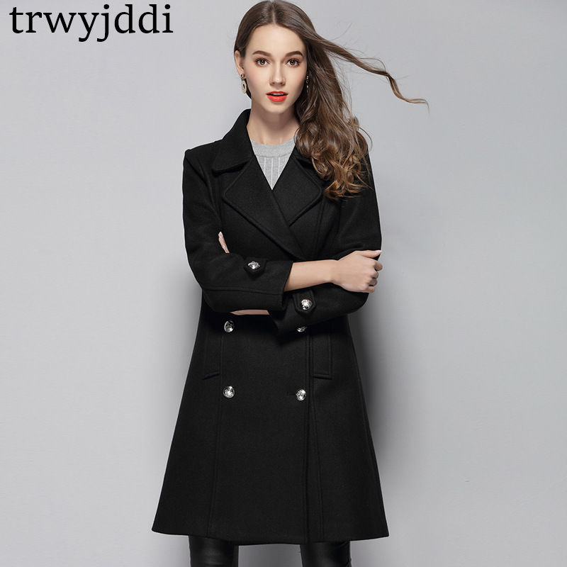 2018 Fashion Woolen Coat Women Autumn Winter Jackets Casual Ladies Double-breasted Slim Wool Jacket Female BLACK Overcoats <font><b>A1136</b></font> image