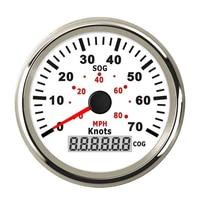 2 Pcs 70 Knots GPS Speedometers Gauge 85 mm Odometers 9 32v Speed Meter 0~80 MPH COG with Backlight Fit Boat Speed Sensor