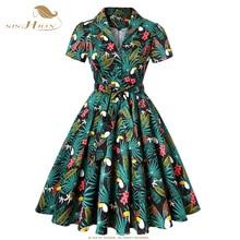 SD0002 ヴィンテージドレスを印刷プラスサイズ花綿チュニック女性スイングロカビリードレス 2020 オオハシヤシの花
