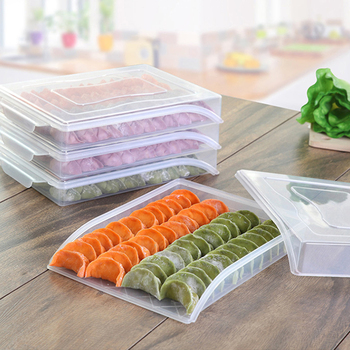 Caja de almacenamiento de nevera transparente para la cocina de albóndigas de frutas PP organizador de alimentos congelador caja con tapa contenedor a prueba de polvo