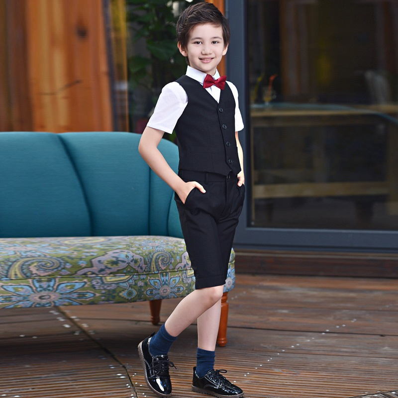 Summer Boys Prom Suits for Weddings Outfit Blazer Kids clothes Tuxedo Short Sleeve Shirt+Vest+shorts 3 PCS Costume Give Bow Tie bardot sash tie sleeve random crop top with shorts