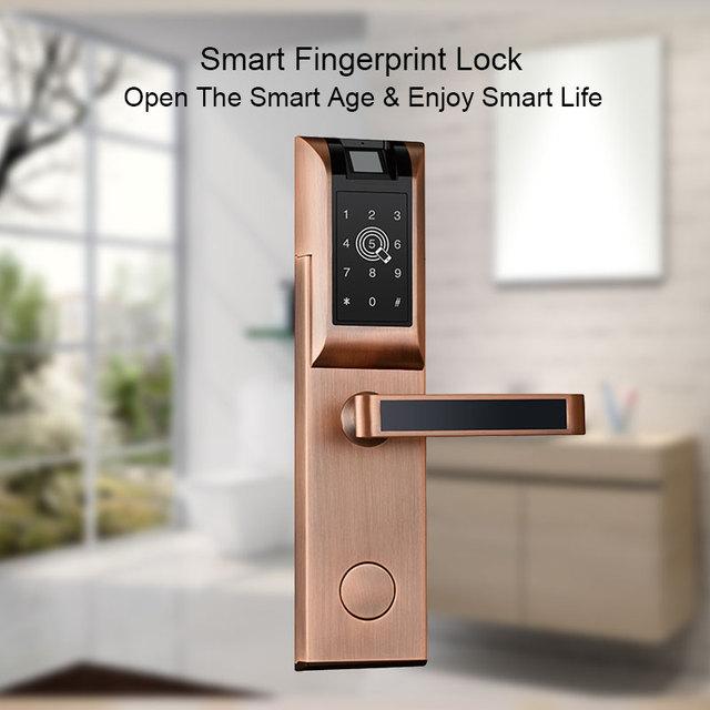 Biometric Fingerprint Door Lock Home Apartment Wireless App Phone Bluetooth Password Card Unlock Smart Lock Keyless Door Lock