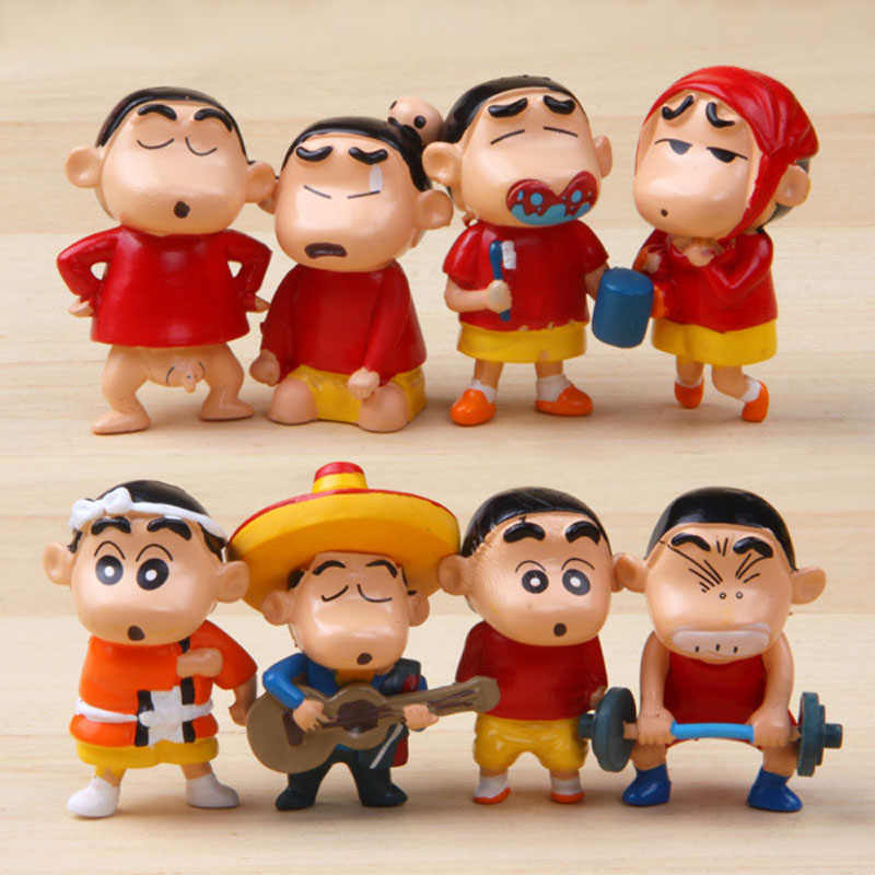 Anime Crayon Shinchan Mini PVC Figure Toy Kid Gift 8pcs//set