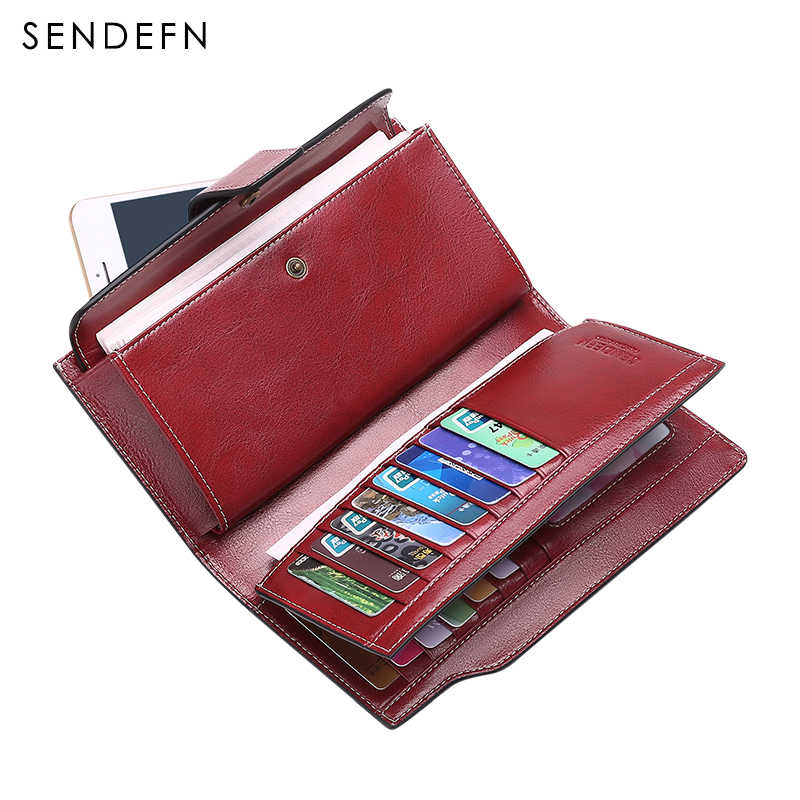 SENDEFN Retro Wallet Top Leather Wallet Female Long Clutch  Women Zipper Card Holder Coin Purse For iPhone 7S 5156H2-6