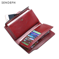 SENDEFN Retro Wallet Top Leather Wallet Female Long Clutch Women Zipper Card Holder Coin Purse For iPhone 7S 5156H2 6