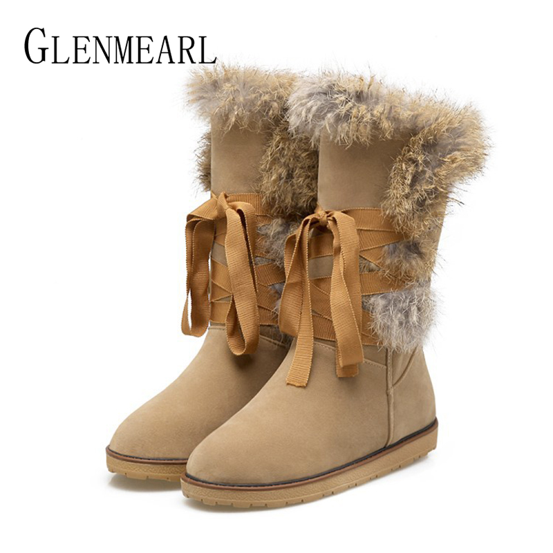 Brand Women Winter Boots Warm Snow Shoes Female Mid-Calf Lace Up Fur Ladies Shoe Fashion Round Toe High Boot Woman Plus Size DE beango fashions snow boots women s winter fur rubber genuine leather lace up flats round toe mid calf new comfort warm boots