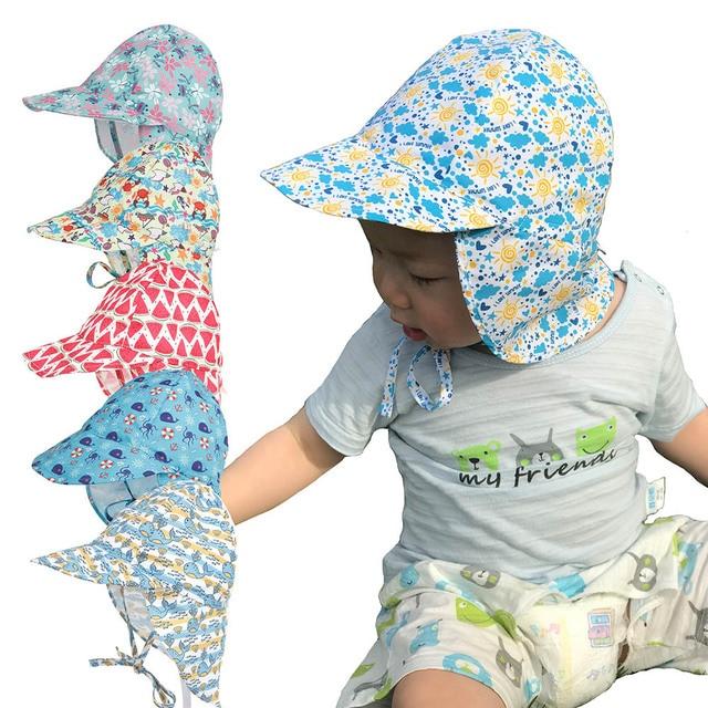 9ca25156 2018 Autumn Children Boys Girls Sun Hat Anti-UV Swim Hat Baby Toddler Flap  Sun
