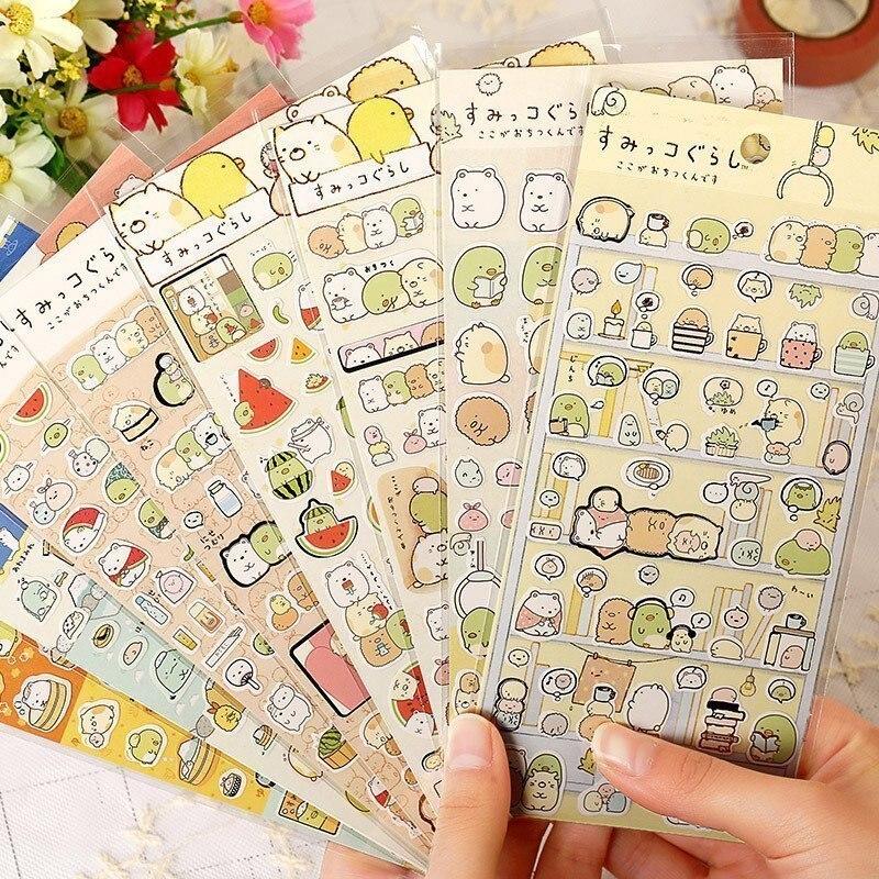 1PC Corner creature bronzing Cartoon Animal Stickers Kids font b Toy b font Sticker Scrapbook font