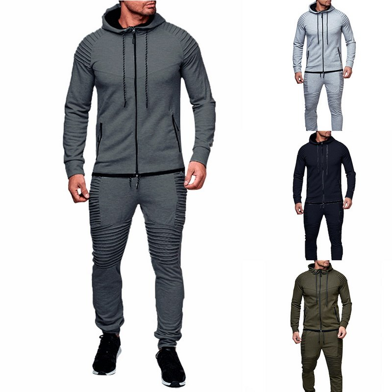 HTB1AmG9azvuK1Rjy0Faq6x2aVXaH HEFLASHOR Men Drawstring Sportwear Set Fashion Solid Sweatshirt&Pants Tracksuit Casual Zipper Hoodies Outwear Clothes 2019