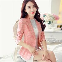 Women Blazers NEW Long Sleeve Small Suit Women's Jacket Increase size 3XL Two Buckle Jacquard Slim Short Suit Women's Tops