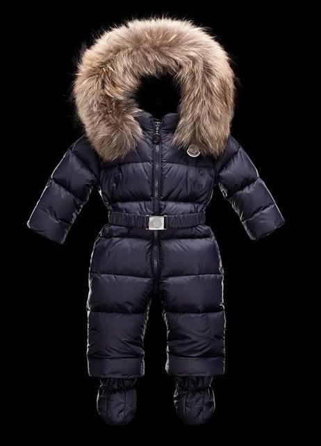 Retail niños niños y niñas de invierno caliente abajo chaqueta de cuello de piel de la ropa de escalada mono envío libre en la acción