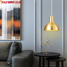 Nordic Copper LED Pendant Lights Bar Cafe Ceiling For Restaurant Bedroom Living room Industrial Lamp Modern lampa wiszaca