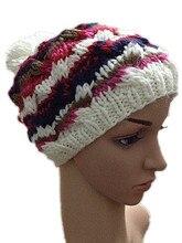 Осень зима многоцветная шляпа чистый ручной вязаная шапка женщины теплой шерсти шапочки лыжный cap