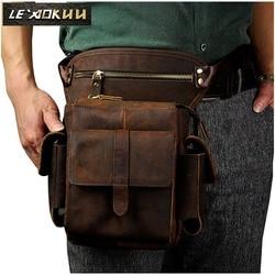 حقيبة كتف للرجال بتصميم غير رسمي من الجلد عالي الجودة حقيبة خصر فاني عصرية متعددة الوظائف حقيبة متدلية للساق 913-5