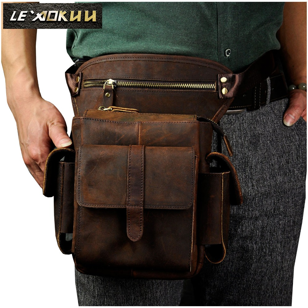 Real Leather Men Design Casual Messenger Crossbody Sling Bag Multifunktionell Mode Midja Bälte Pack Leg Drop Bag Pad Väska 913-5