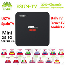 V88/V88 Mini 3 Android TV Box RK3229 1/8G 2/8G Con 1 Año ESUNTV/RoyalTV/LuckyTV configurado Europa iptv Árabe IPTV VOD