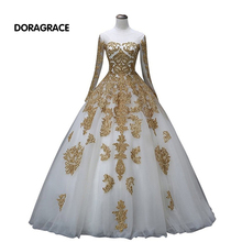 Romantic A Line Applique Beaded Floor-Length Long Prom Dresses Sleeves Evening Gowns Designer DGE045