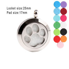 Cute Dog Paw Print Essential Oils Diffuser Locket Necklace 25mm Screw Stainless Steel Perfume Aromatherapy Pendant Necklaces(China)