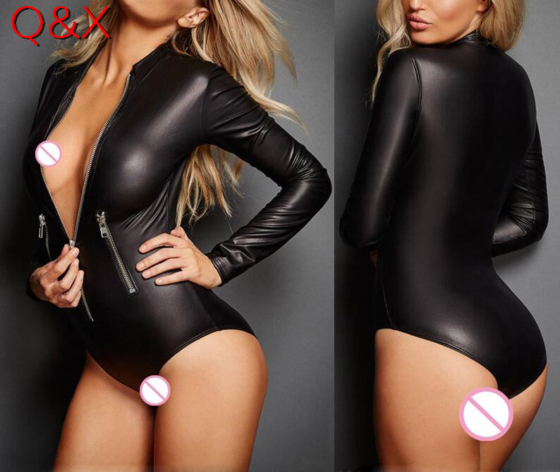 XX26 2017 Hot Lingerie Zipper Sexy Leather Lingerie Black Latex Erotic <font><b>Catsuit</b></font> <font><b>Sex</b></font> Body Suit Halloween Motorcycle cloth Costumes image