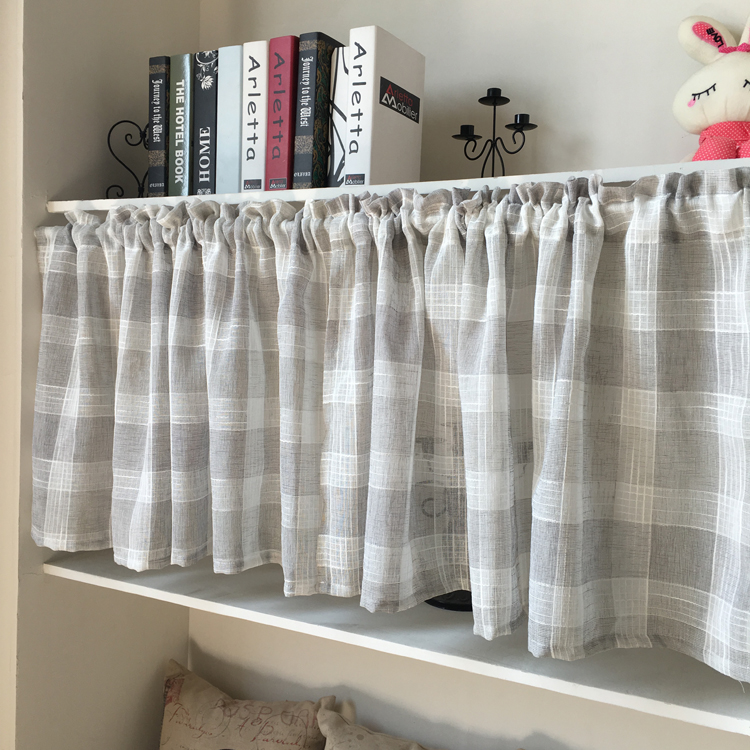 Amazing Stripe Kitchen Curtain Short Sheet Curtain For The Kitchen Grey And White