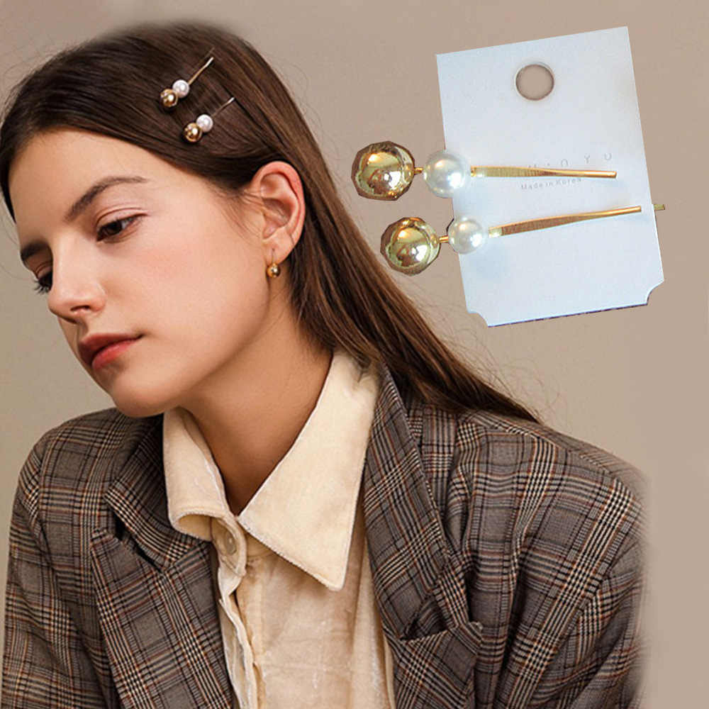 1PC Vintage Metal Imitiation Pearl Hairpins Women Korea Metal Ball Hair Clips Simple Hair Accessories Barrettes Styling Tools