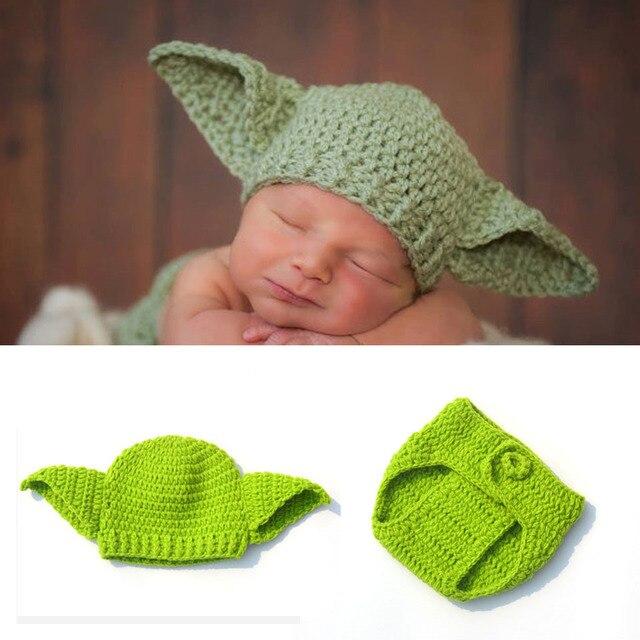 Glittery Süße Star Wars Babymütze Yoda Outfit Handgemachte