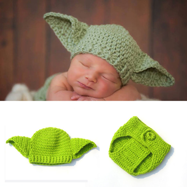 Glittery sweet star wars baby hat yoda outfit handmade knitted cap crochet costume hat pants set