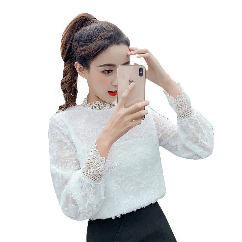 2019 printemps automne femmes coréennes en mousseline de soie Blouse à manches longues hauts dames chemise pull élégant mode vêtements femmes vêtements OLN