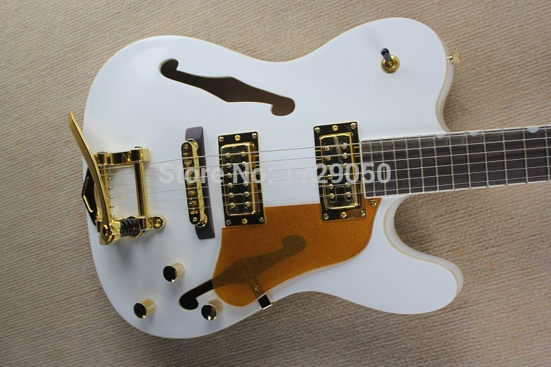 chinese factory custom new telecaster white semi hollow body guitar jazz electric guitar with. Black Bedroom Furniture Sets. Home Design Ideas