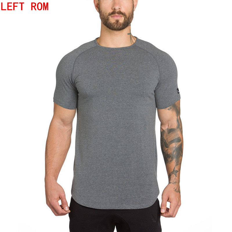 2018 Brand gyms clothing t shirt men fashion extend hip hop summer short sleeve t-shirt cotton bodybuilding muscle tshirt man